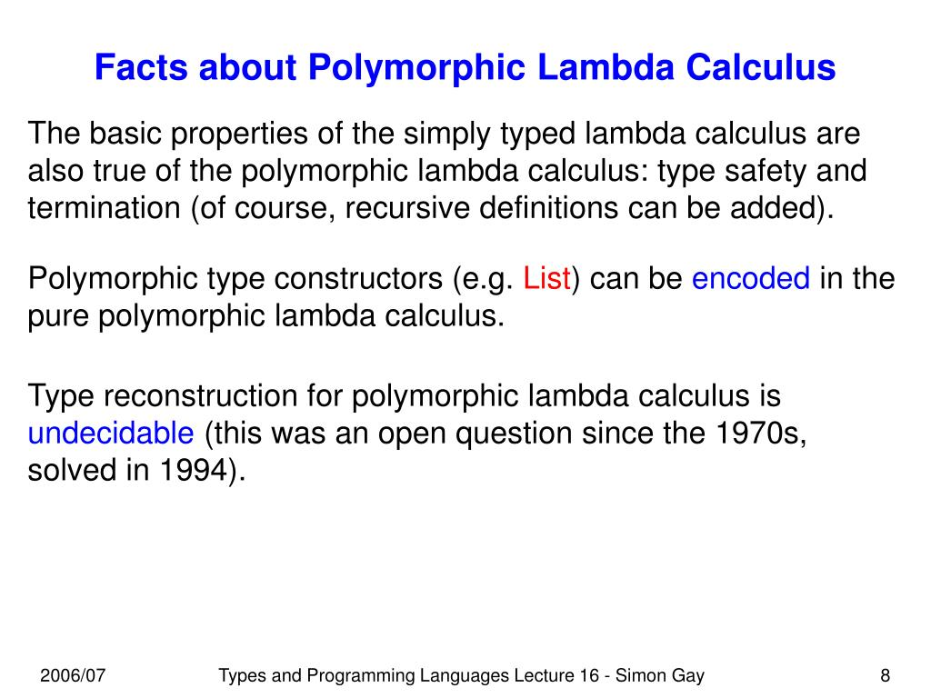 Facts about Polymorphic Lambda Calculus