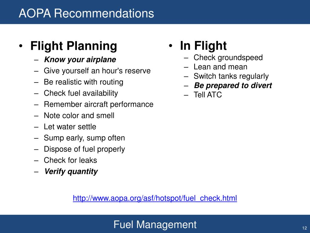 AOPA Recommendations