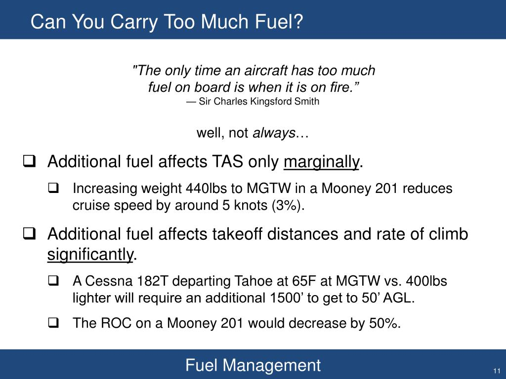 Can You Carry Too Much Fuel?