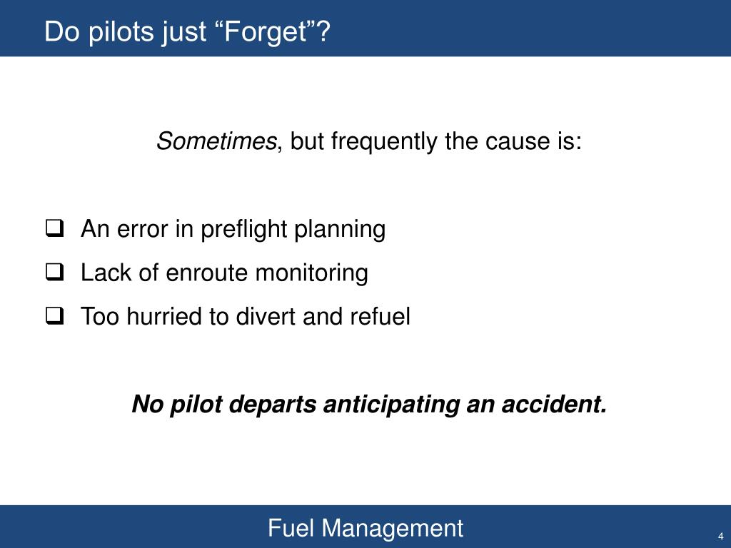 """Do pilots just """"Forget""""?"""