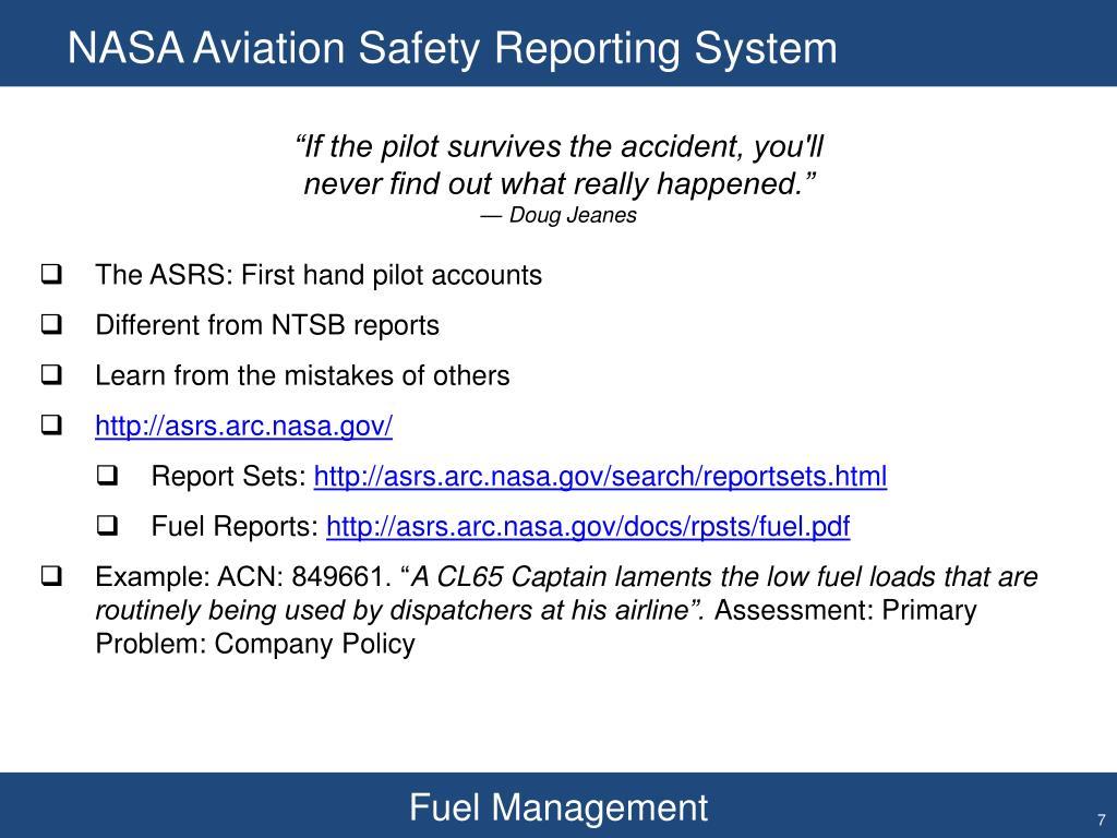 NASA Aviation Safety Reporting System