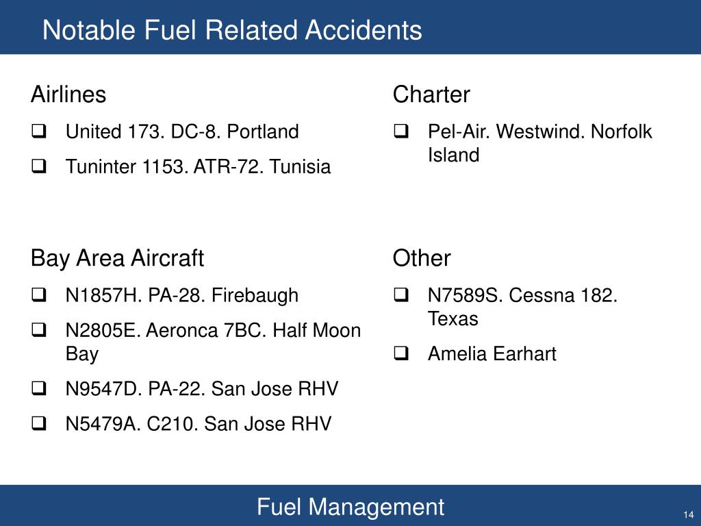 Notable Fuel Related Accidents