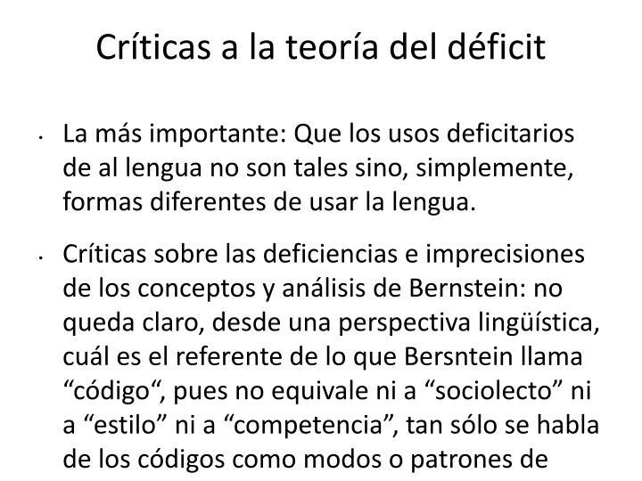 Críticas a la teoría del déficit