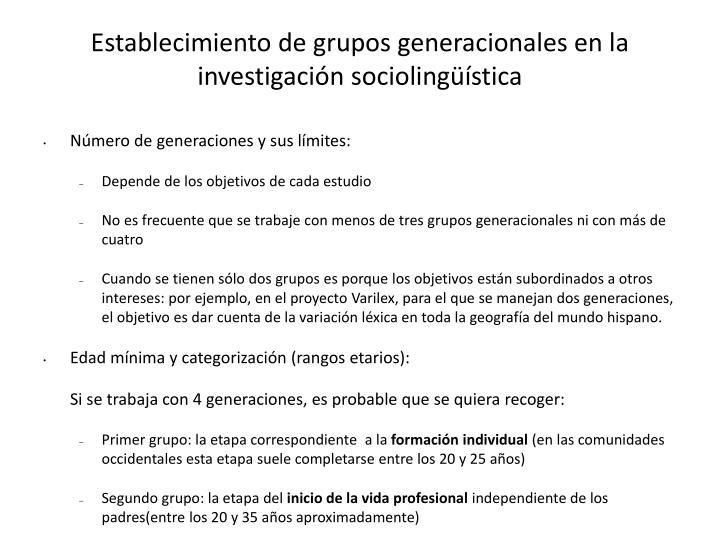 Establecimiento de grupos generacionales en la investigación sociolingüística