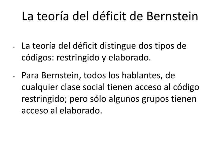 La teoría del déficit de Bernstein
