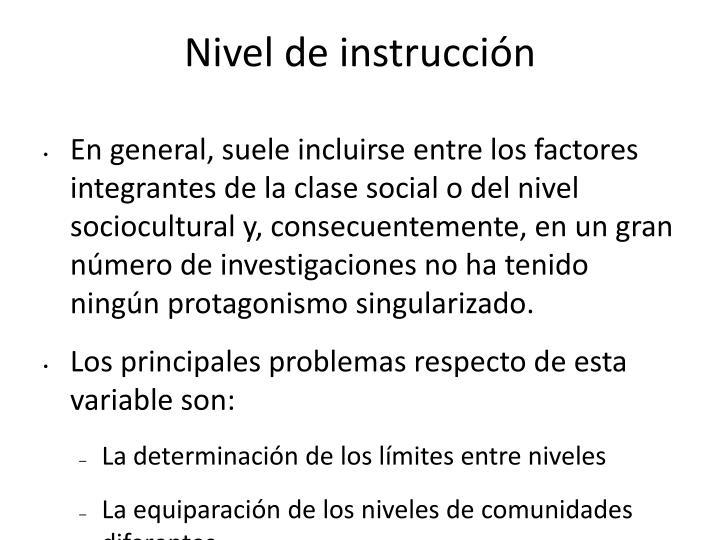 Nivel de instrucción