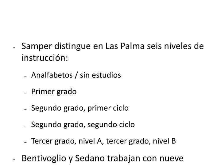 Samper distingue en Las Palma seis niveles de instrucción: