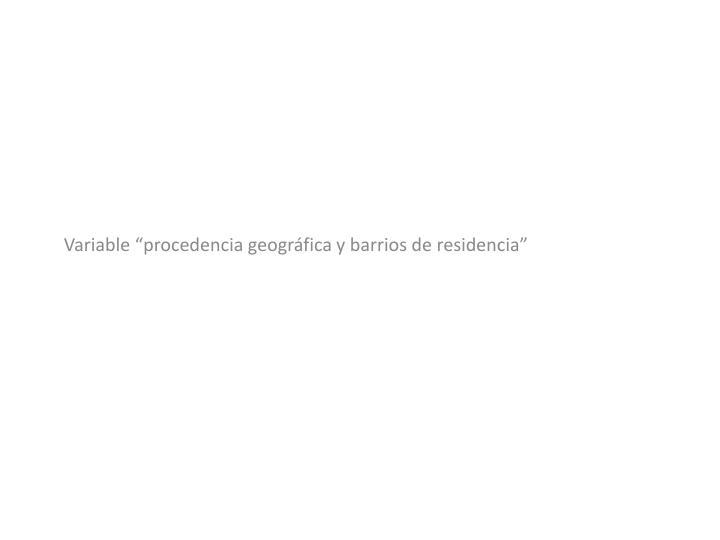 """Variable """"procedencia geográfica y barrios de residencia"""""""