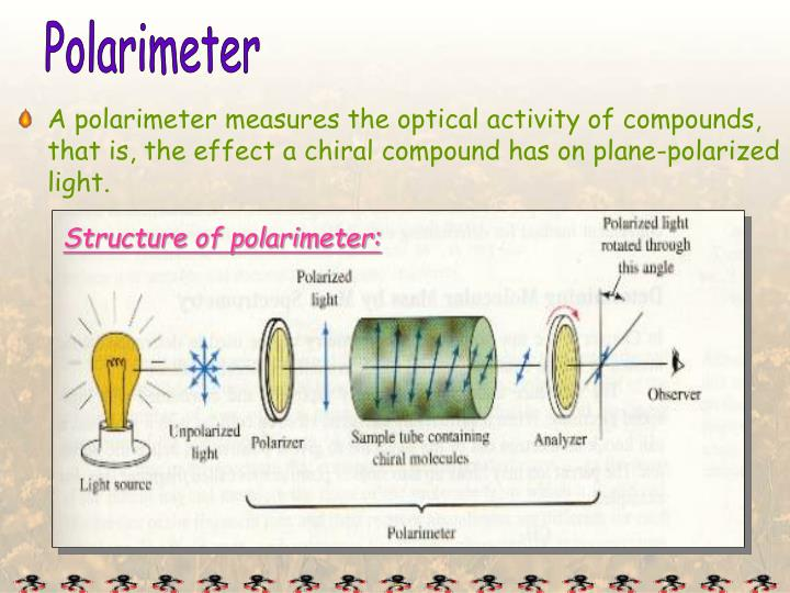 A polarimeter measures the optical activity of compounds,