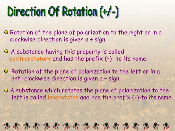 Rotation of the plane of polarization to the right or in a