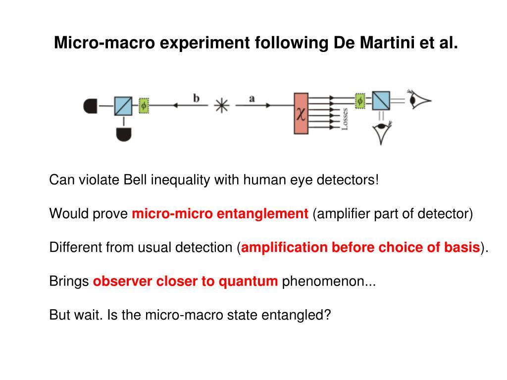 Micro-macro experiment following De Martini et al.