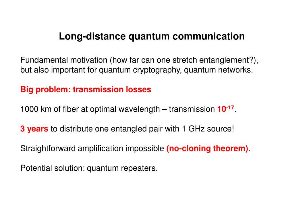 Long-distance quantum communication