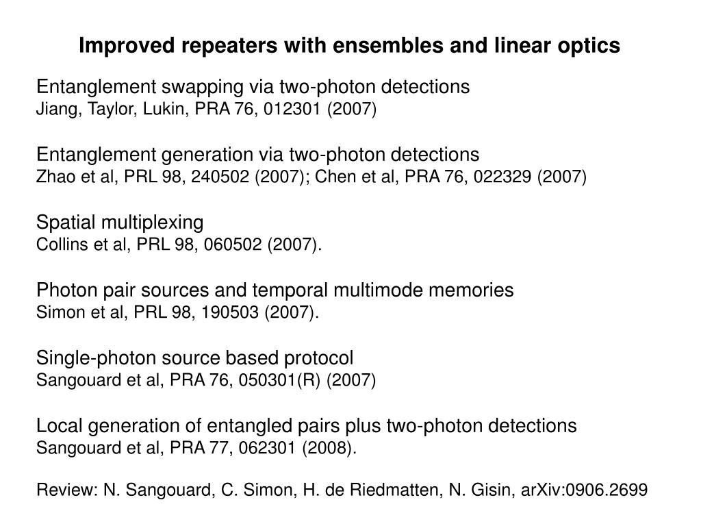 Improved repeaters with ensembles and linear optics