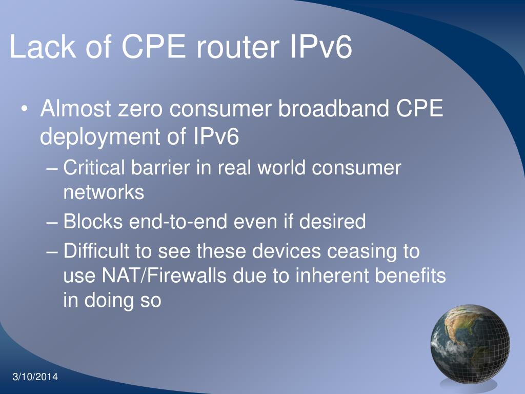 Lack of CPE router IPv6