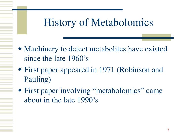 History of Metabolomics