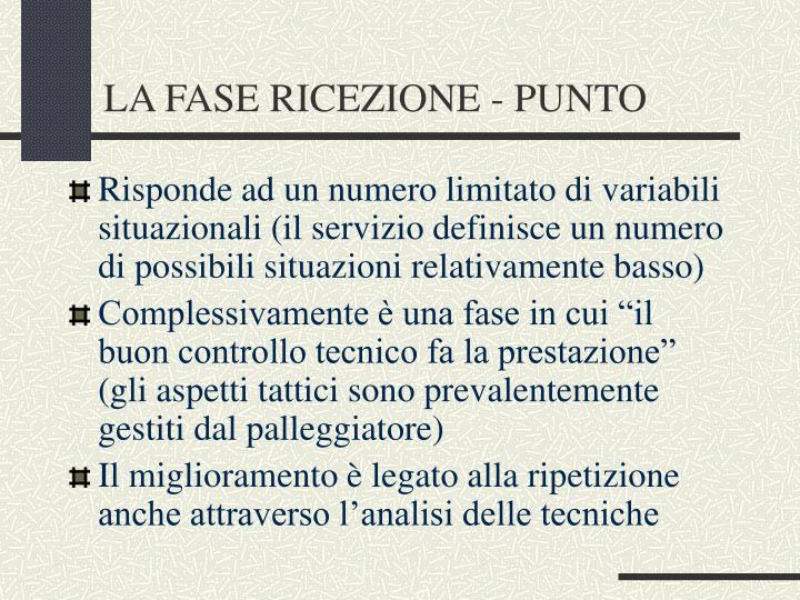 LA FASE RICEZIONE - PUNTO