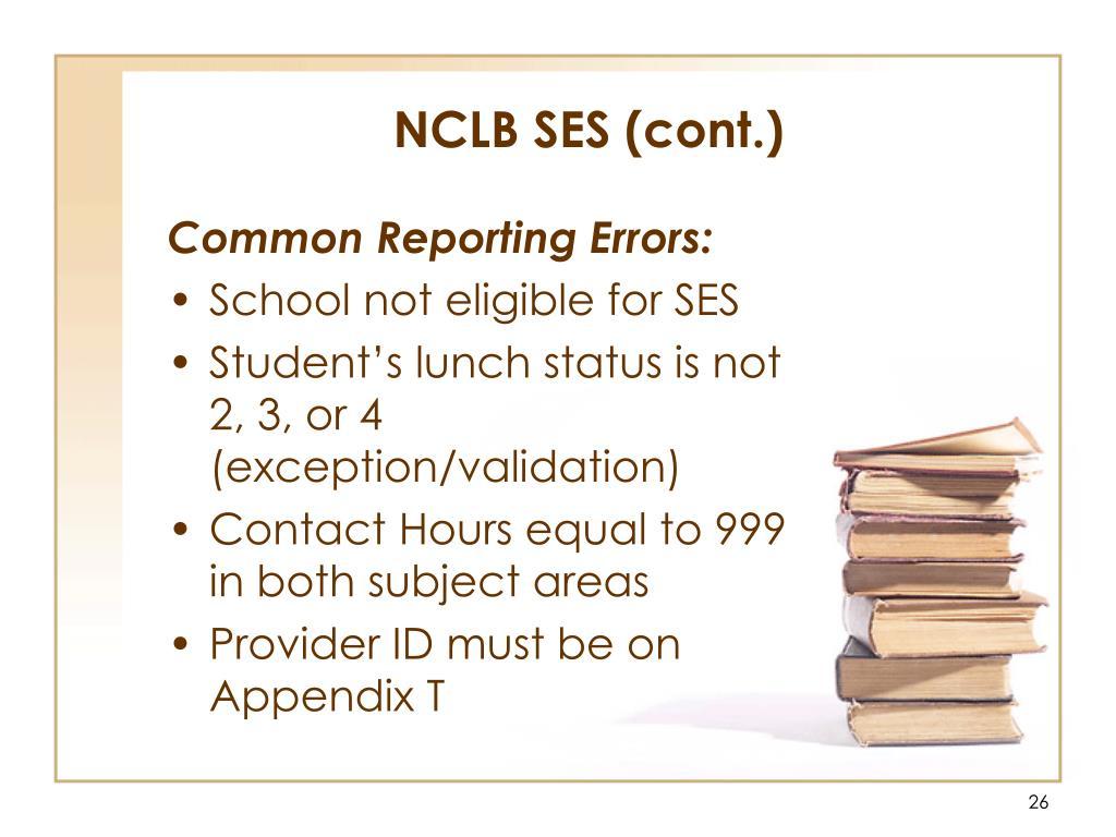 NCLB SES (cont.)