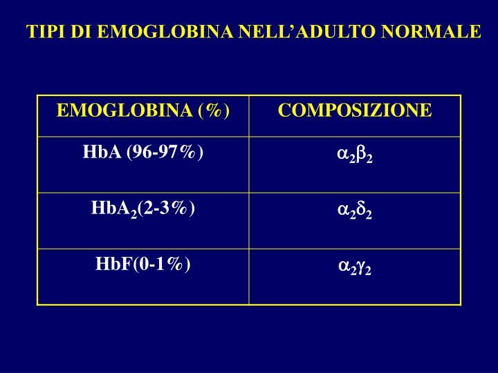 TIPI DI EMOGLOBINA NELL'ADULTO NORMALE