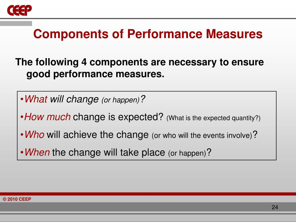 Components of Performance Measures