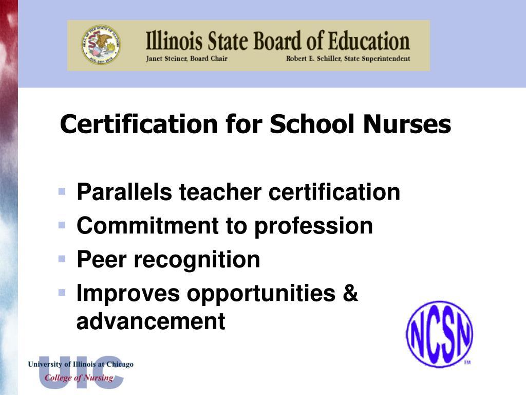 Certification for School Nurses
