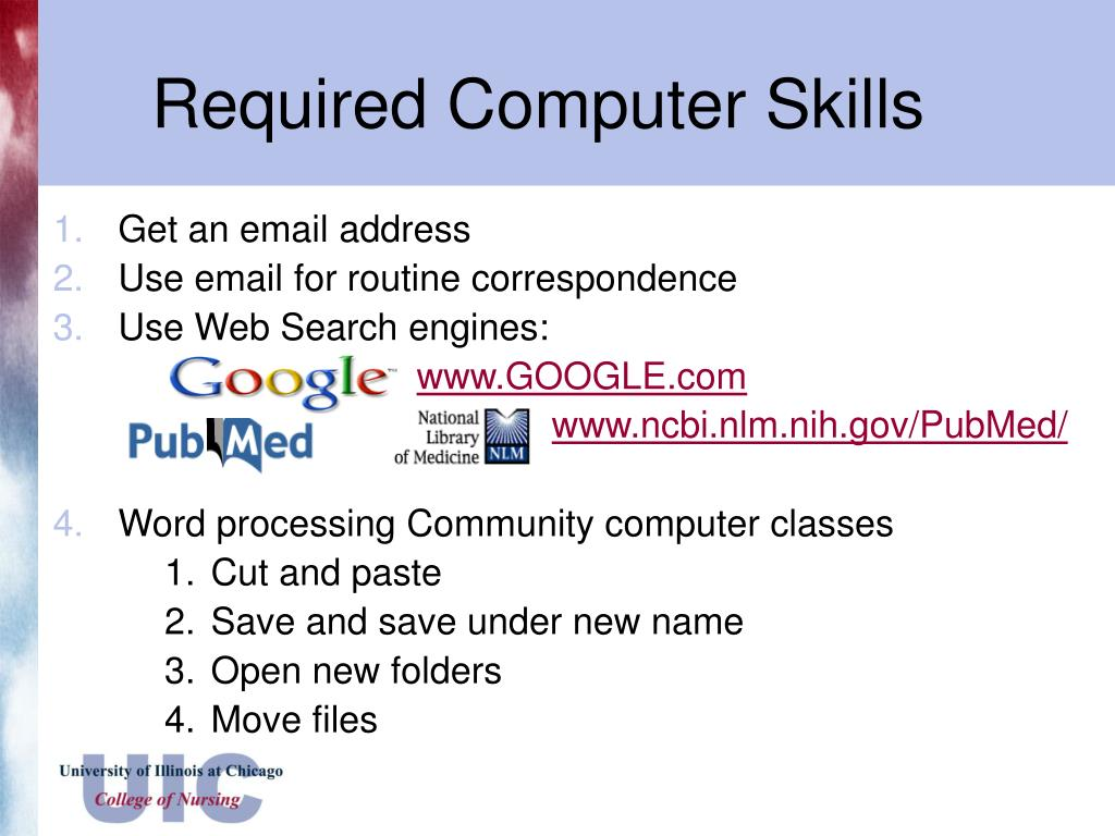 Required Computer Skills