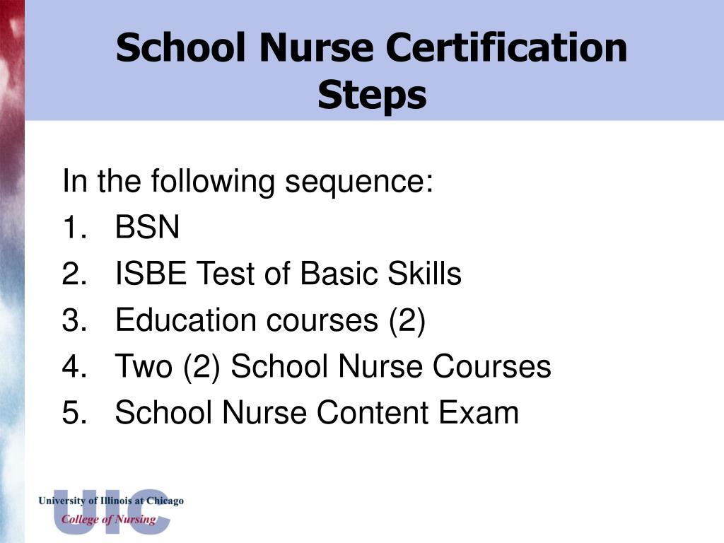 School Nurse Certification Steps