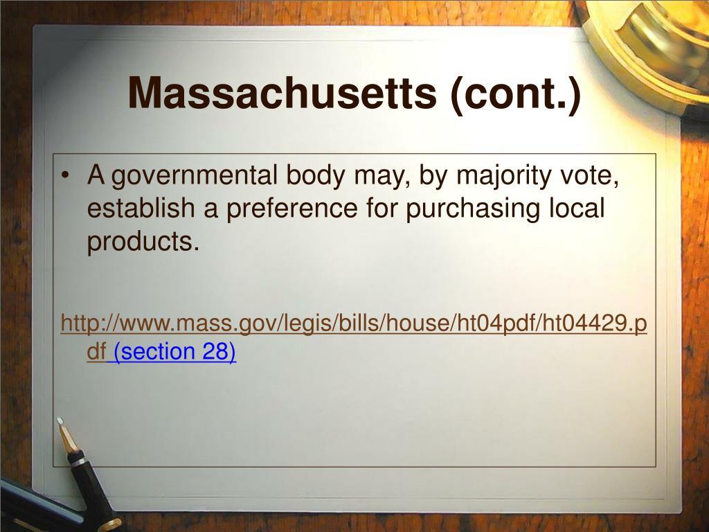 Massachusetts (cont.)