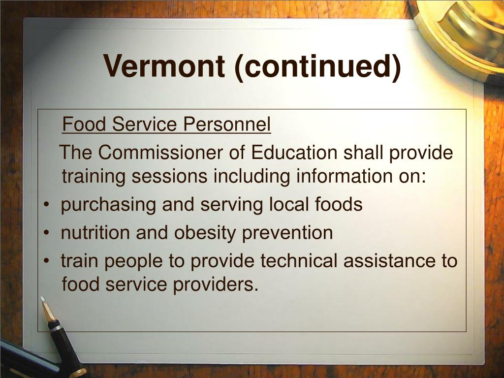 Vermont (continued)