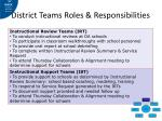 district teams roles responsibilities