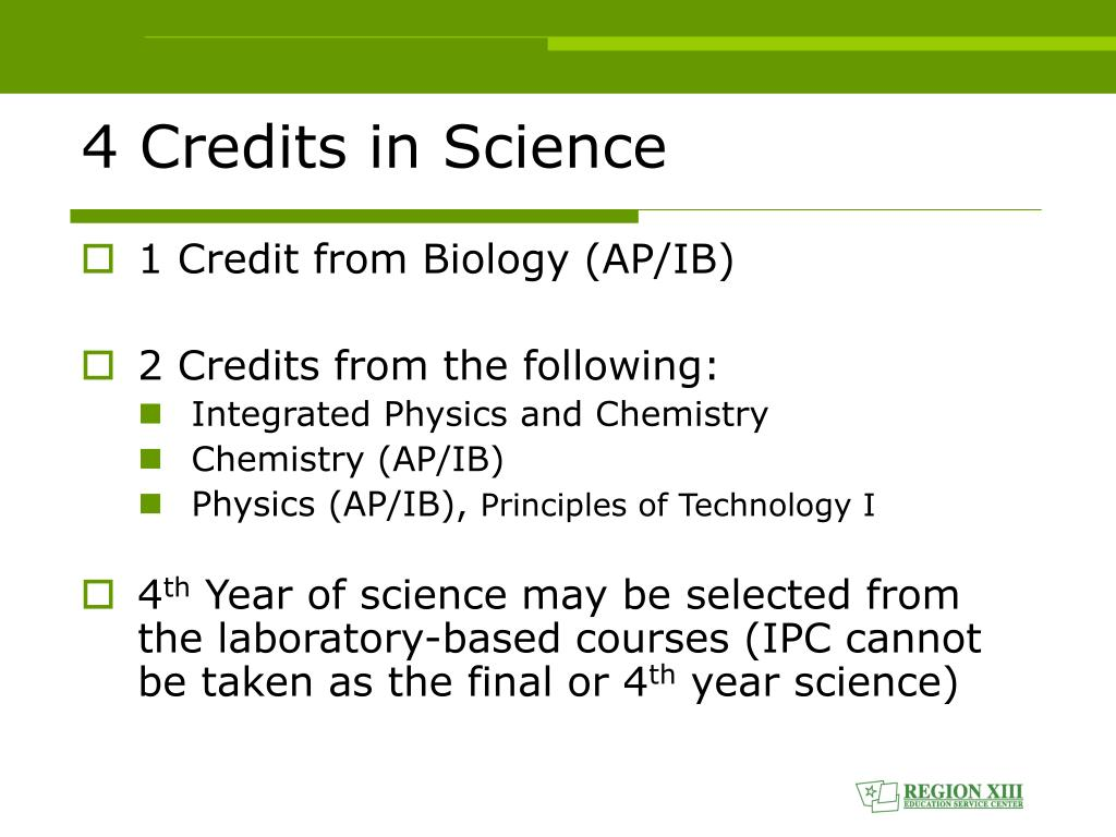 4 Credits in Science