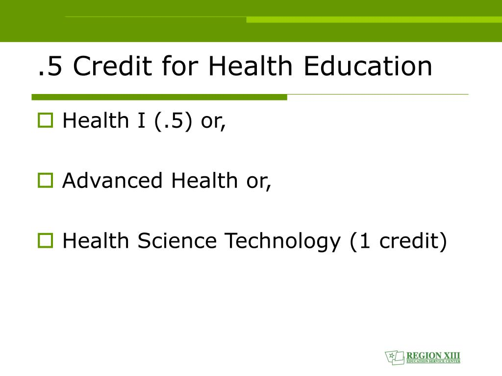 .5 Credit for Health Education