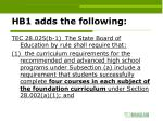 hb1 adds the following