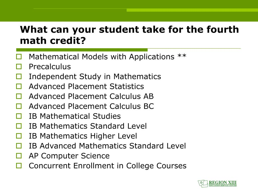 What can your student take for the fourth math credit?