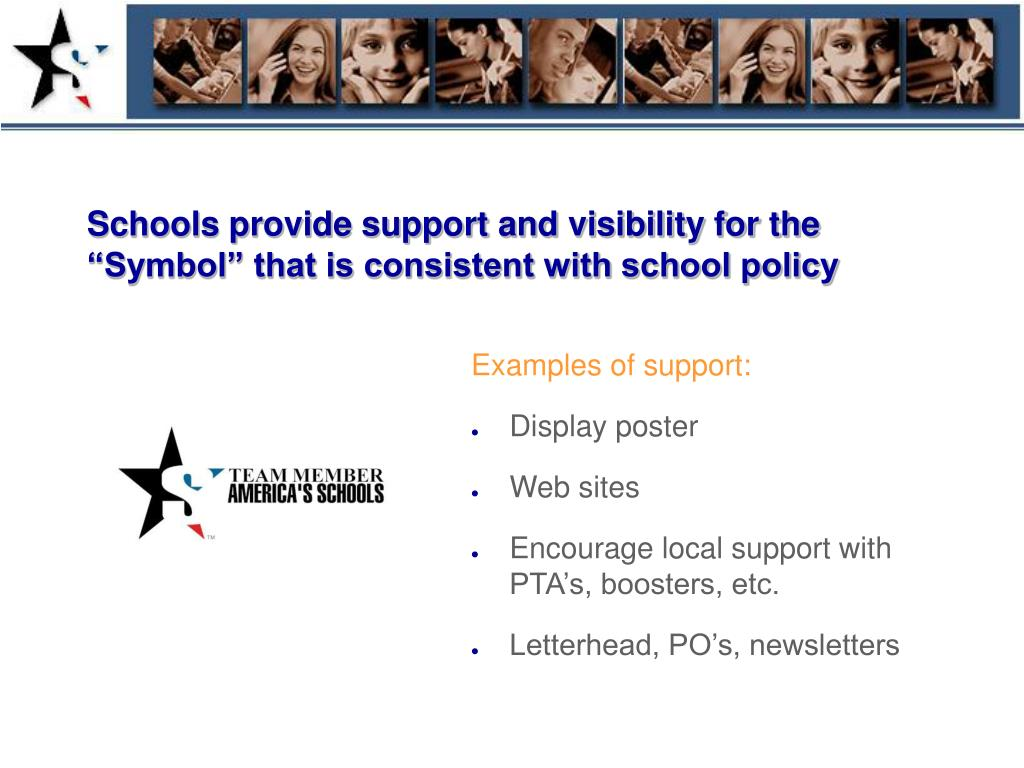 """Schools provide support and visibility for the """"Symbol"""" that is consistent with school policy"""