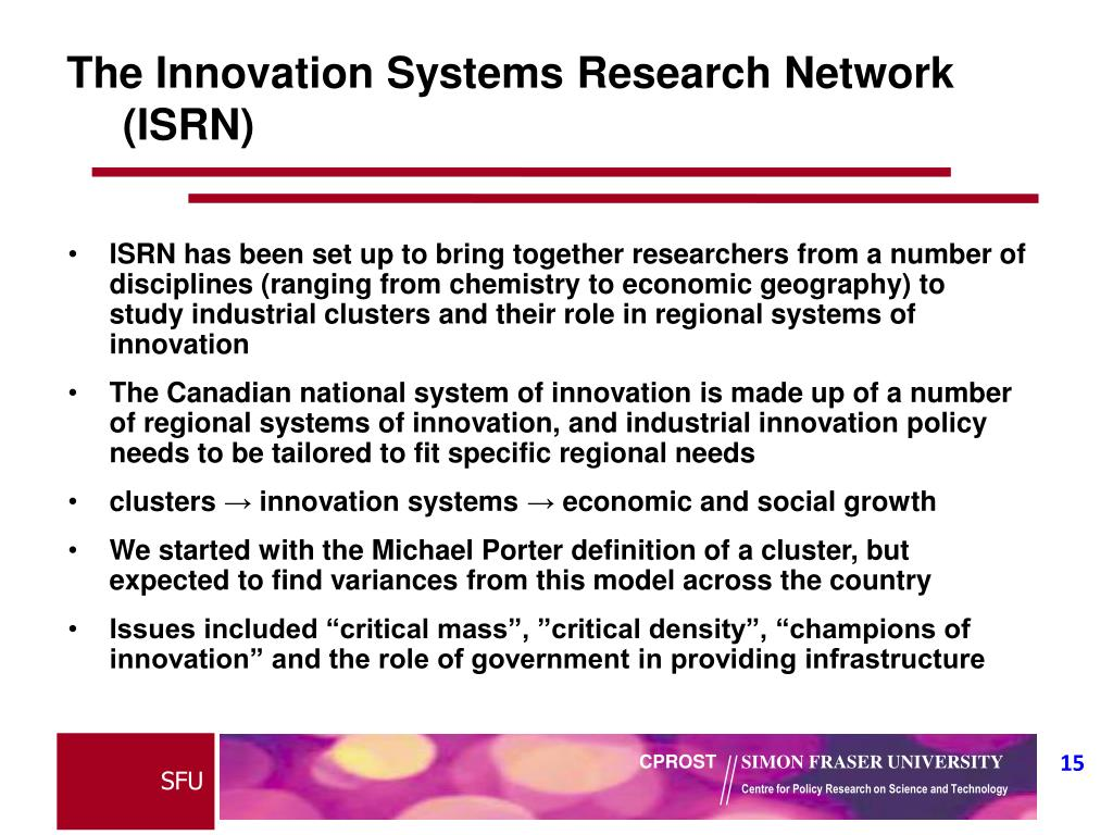 The Innovation Systems Research Network (ISRN)