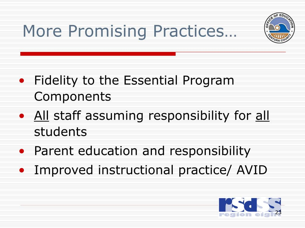 More Promising Practices…