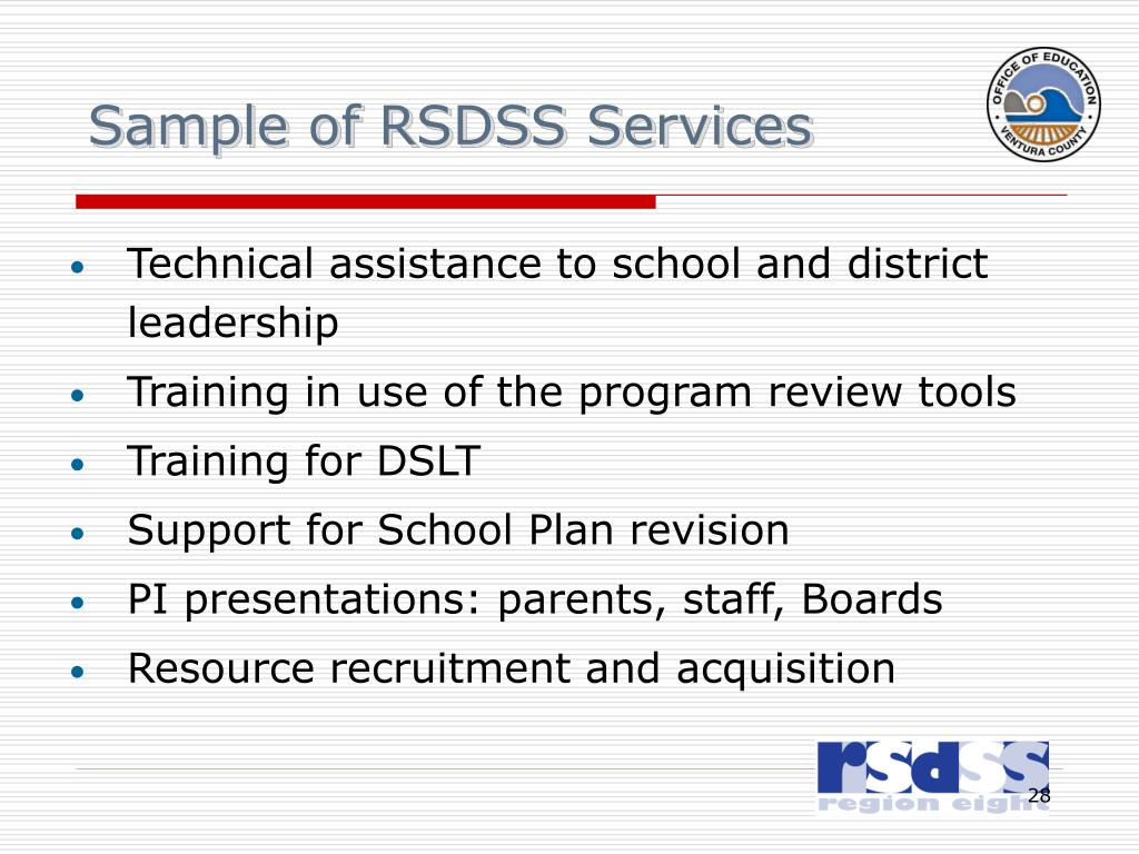 Sample of RSDSS Services