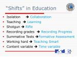 shifts in education