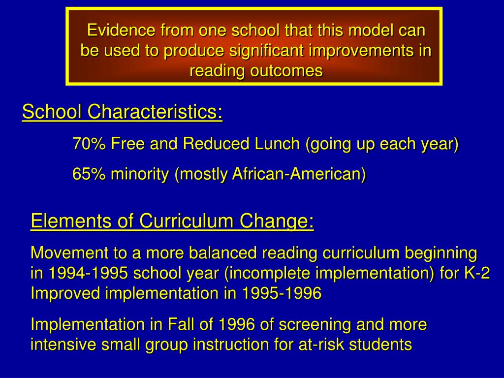Evidence from one school that this model can be used to produce significant improvements in reading outcomes