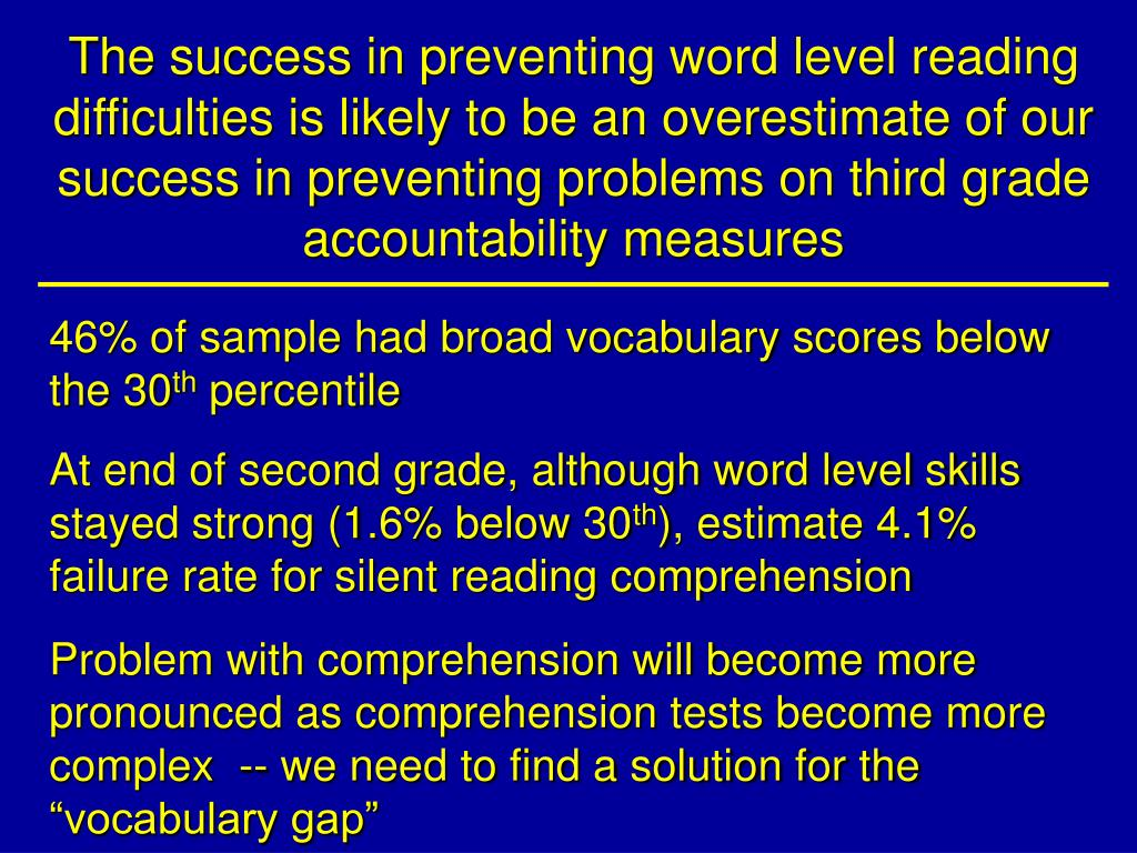 The success in preventing word level reading difficulties is likely to be an overestimate of our success in preventing problems on third grade accountability measures