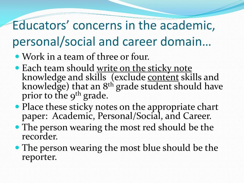 Educators' concerns in the academic, personal/social and career domain…