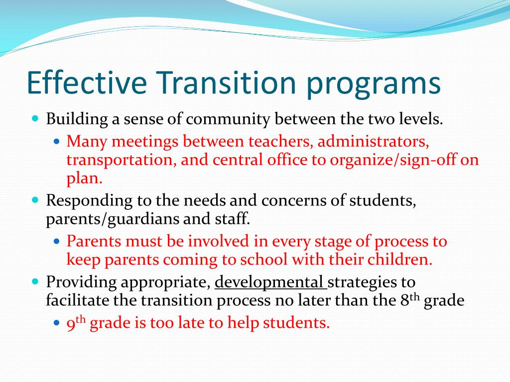 Effective Transition programs