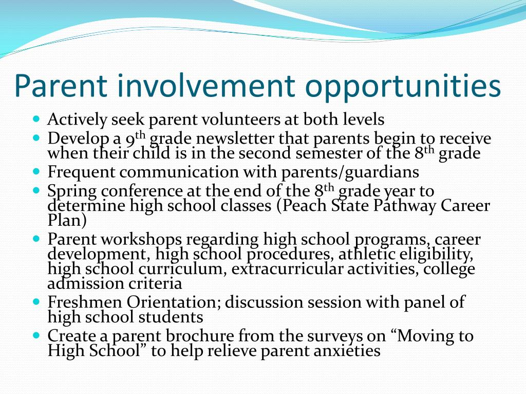 Parent involvement opportunities