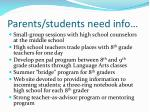 parents students need info