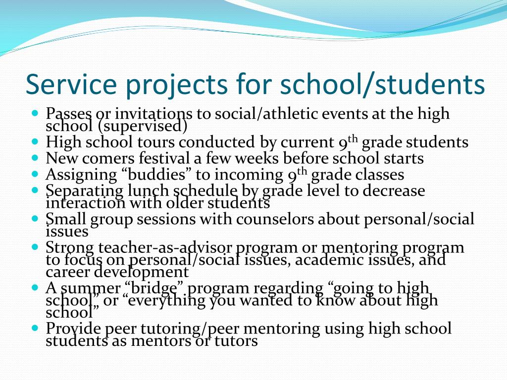 Service projects for school/students