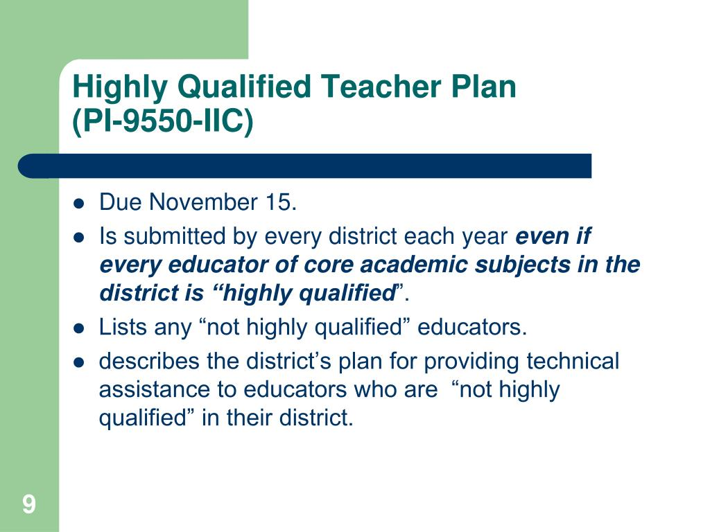 Highly Qualified Teacher Plan