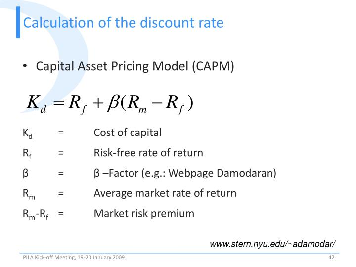 Calculation of the discount rate