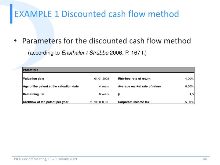 EXAMPLE 1 Discounted cash flow method