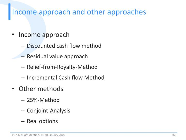 Income approach and other approaches
