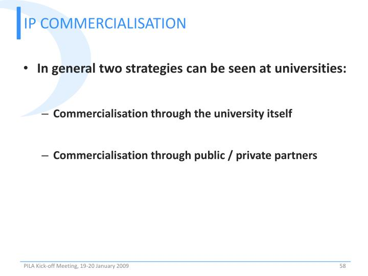 IP COMMERCIALISATION